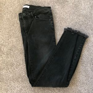 Loft jeans with distressed frayed bottoms